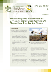 CCAFS Policy Brief No. 6. Recalibrating Food Production in the Developing World: Global Warming Will Change More Than Just the Climate. Click to read more.