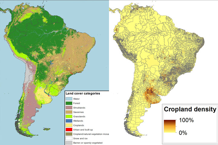 Charting The Agricultural Land Of South America CCAFS CGIAR - Argentina density map