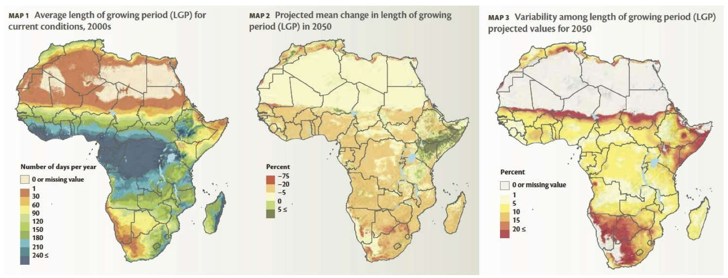 New website features agriculture maps and learning briefs of africa average length of growing period africa under climate change gumiabroncs Gallery
