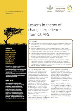 Lessons in theory of change: experiences from CCAFS