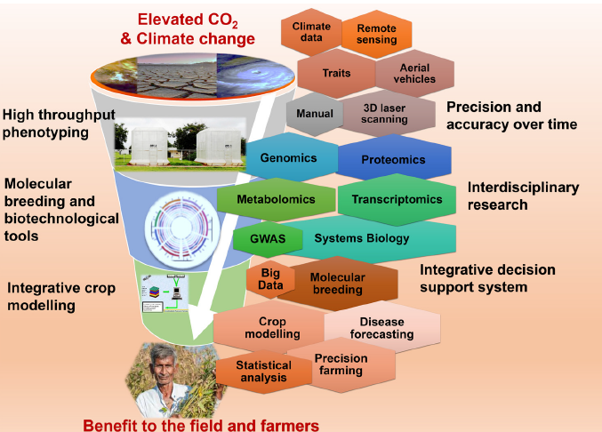 Figure 1: A representation of a multifaceted strategy that could be employed to harness cutting edge technologies and greater precision to cope with elevated CO2, and generally with a changing climate.