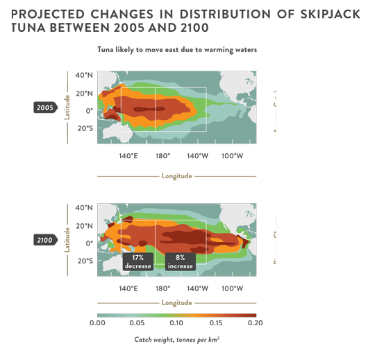Changes to Skipjack Tuna distribution in the Pacific Region under Climate Change