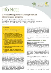 How countries plan to address agricultural adaptation and mitigation