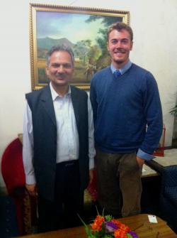 Chase Sova and the Nepalese Prime Minister Mr. Baburam Bhattarai. Photo: Baral