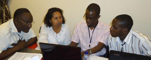 Participants at an East African Scenarios workshop discuss how climate change and food security might unfold in the region until 2030.