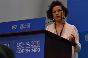 Bianca Jagger at the IUCN podium. Photo: C.Schubert (CCAFS)