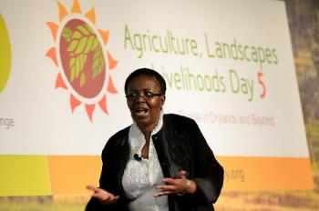 "Lindiwe Sibanda asks the high-level panel in frustration ""Why's there still no deal on agriculture?"". Photo: N. Palmer (CIAT)"