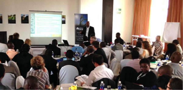 Presentation by Martin Bwalya of CAADP at the Zambian Inception Workshop, February 2015 in Lusaka, Zambia. Photograph by Chris Armitage